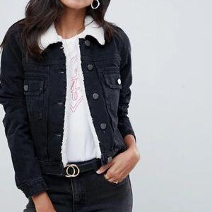 ASOS Denim Fleece Collar Shunken Jacket Size 10